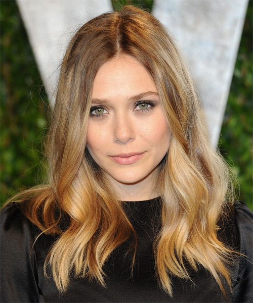 Elizabeth Olsen Long Wavy Casual Hairstyle - Dark Blonde (Golden) Hair Color