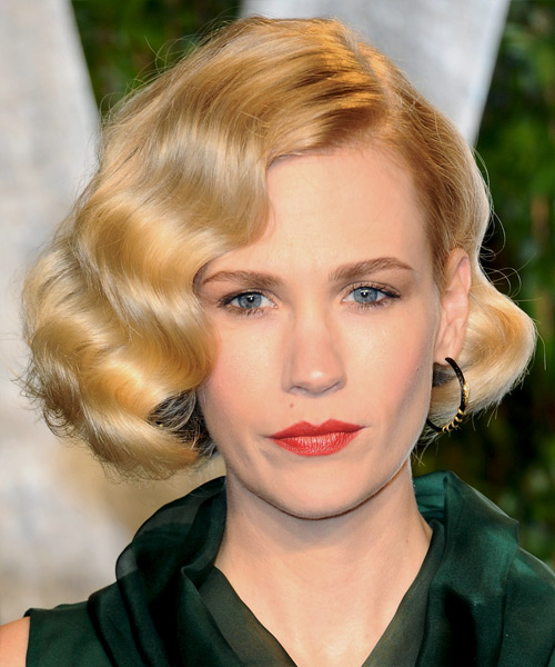 January Jones Short Wavy Formal Bob Hairstyle - Medium Brunette (Golden)