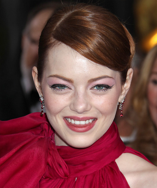 Emma Stone Straight Formal Updo Hairstyle with Side Swept Bangs - Dark Red (Auburn) Hair Color
