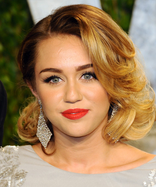 Miley Cyrus Medium Wavy Formal Hairstyle - Medium Blonde (Golden) Hair Color