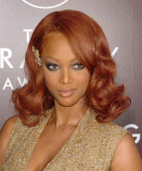 Tyra Banks Medium Wavy Red hairstyle - Dark Skin Tone