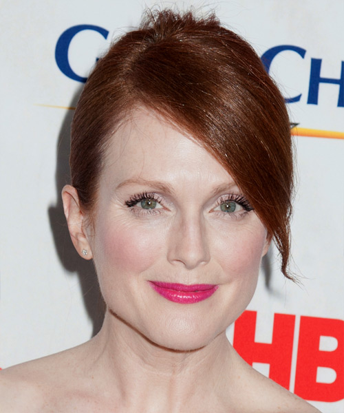 Julianne Moore Straight Formal Updo Hairstyle with Side Swept Bangs - Dark Red (Auburn) Hair Color