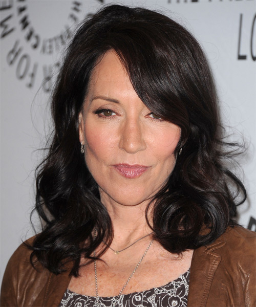 Katey Sagal Medium Wavy Hairstyle - Black