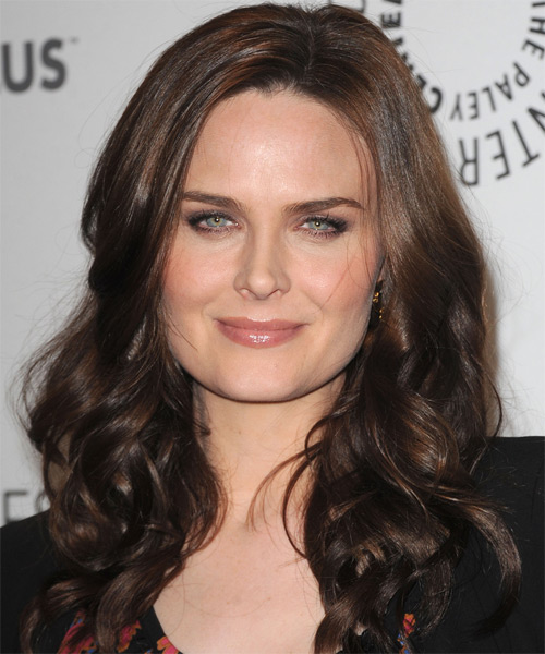 Emily Deschanel Long Wavy Formal Hairstyle - Dark Brunette (Chocolate) Hair Color