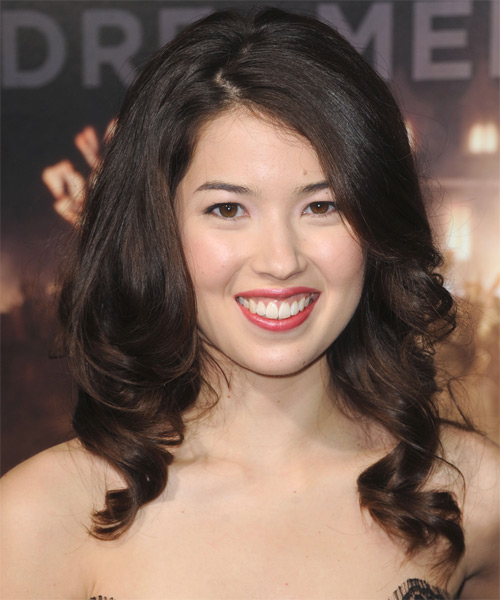 Nichole Bloom Long Wavy Formal  with Side Swept Bangs - Dark Brunette (Mocha)