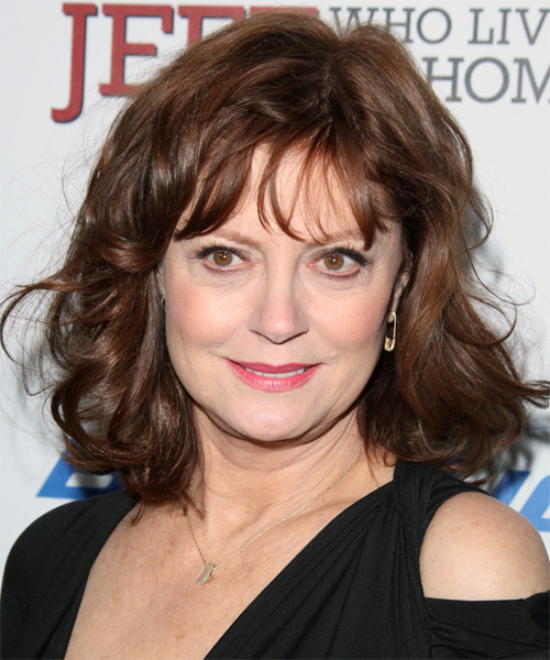 Susan Sarandon Medium Wavy Casual Hairstyle with Layered Bangs - Medium Brunette (Chocolate) Hair Color