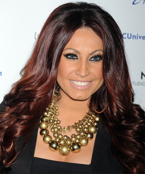Tracy Dimarco  Long Wavy Hairstyle - Medium Brunette (Mahogany)