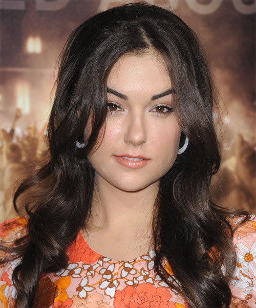 Sasha Grey Long Wavy Formal Hairstyle - Dark Brunette (Mocha) Hair Color