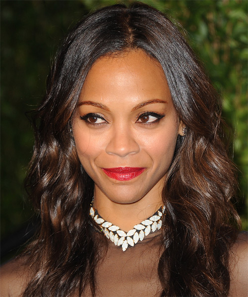 Zoe Saldana Long Wavy Hairstyle - Dark Brunette (Mocha)