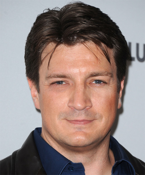Nathan Fillion Short Straight Casual Hairstyle - Dark Brunette Hair Color