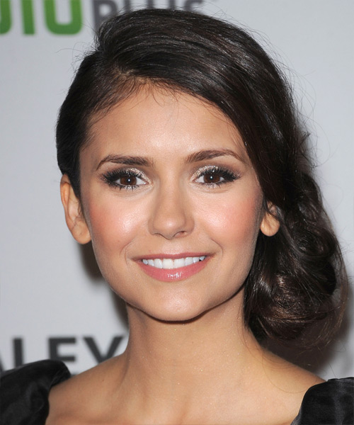 Nina Dobrev Curly Formal Updo Hairstyle - Dark Brunette Hair Color