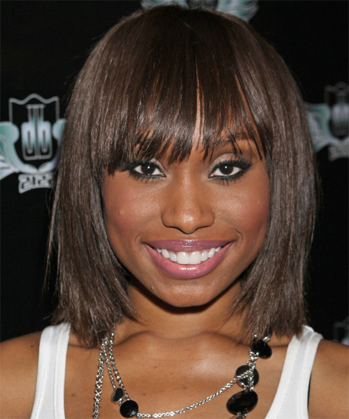 Angell Conwell Medium Straight Casual Bob Hairstyle with Layered Bangs - Dark Brunette (Chocolate) Hair Color