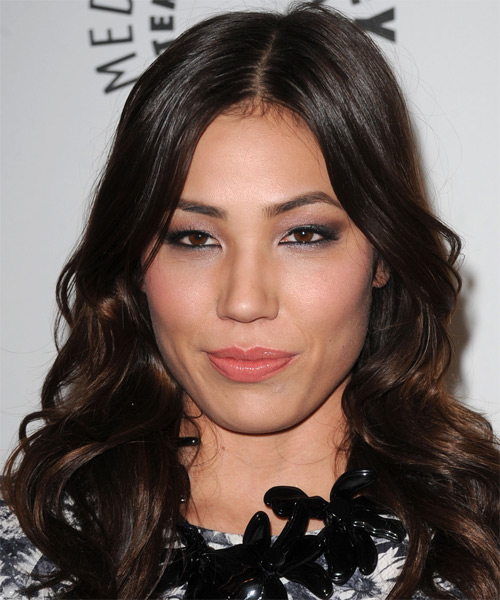 Michaela Conlin Long Wavy Formal Hairstyle - Dark Brunette (Mocha) Hair Color