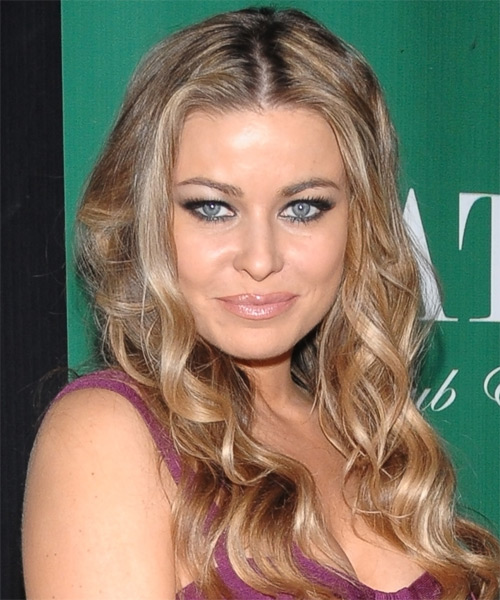 Carmen Electra Long Wavy Casual Hairstyle - Medium Blonde Hair Color