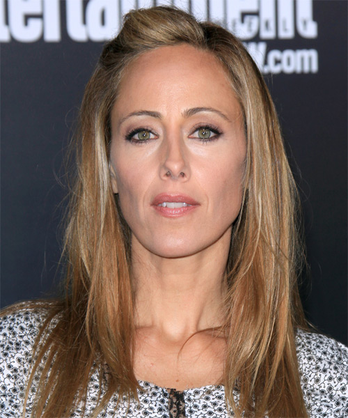 Kim Raver Long Straight Casual Hairstyle - Dark Blonde (Copper) Hair Color