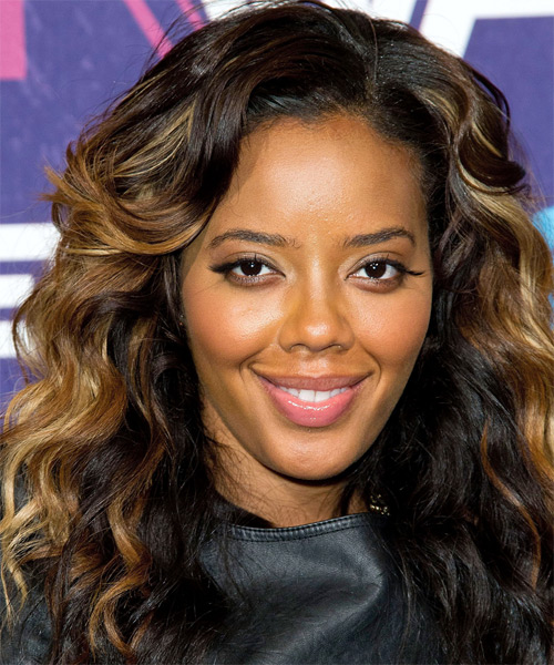 Angela Simmons Long Wavy Hairstyle - Dark Brunette