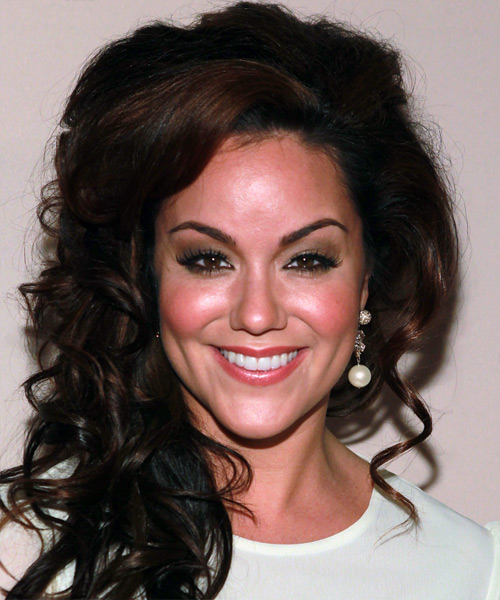 Katy Mixon Half Up Long Curly Formal  - Dark Brunette
