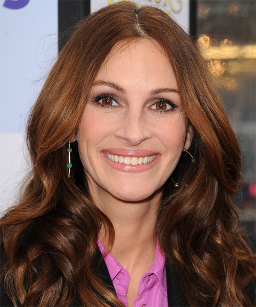 Julia Roberts Long Wavy Formal Hairstyle - Medium Brunette (Auburn) Hair Color