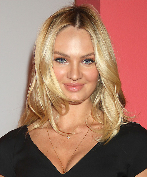Candice Swanepoel Long Straight Hairstyle - Medium Blonde (Golden)