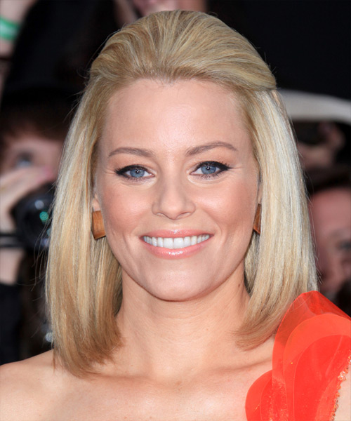 Elizabeth Banks Straight Formal Half Up Bob Hairstyle - Light Blonde (Ginger) Hair Color