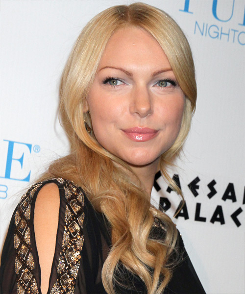 Laura Prepon Long Wavy Hairstyle - Light Blonde (Golden)