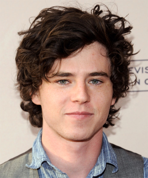 Charlie McDermott Medium Wavy Hairstyle - Dark Brunette (Mocha)