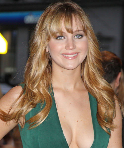 Jennifer Lawrence Long Wavy Casual Hairstyle with Layered Bangs - Medium Blonde (Golden) Hair Color