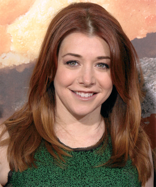 Alyson Hannigan Long Straight Hairstyle - Dark Red (Copper)