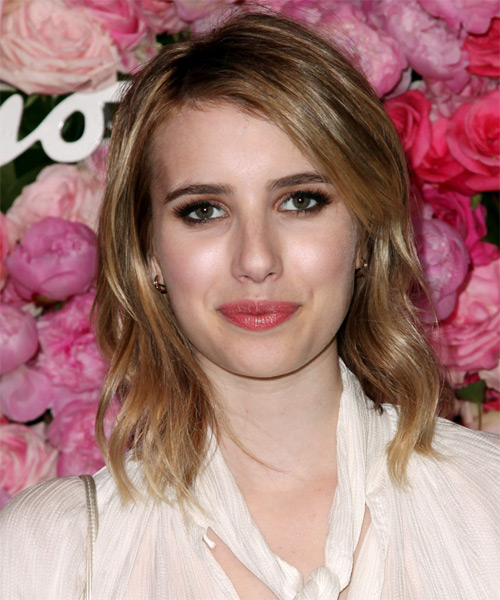Emma Roberts Medium Straight Casual Hairstyle - Dark Blonde (Golden) Hair Color