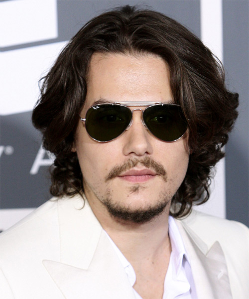 John Mayer Long Wavy Casual Hairstyle - Dark Brunette Hair Color