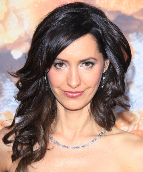 Charlene Amoia Long Wavy Formal Hairstyle with Side Swept Bangs - Black Hair Color