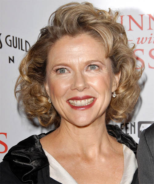 Annette Bening Medium Wavy Formal Hairstyle