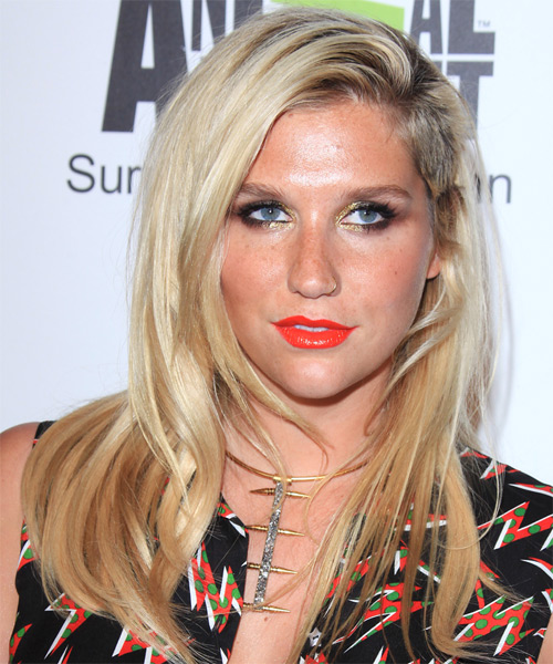 Kesha Long Straight Casual Hairstyle - Light Blonde Hair Color