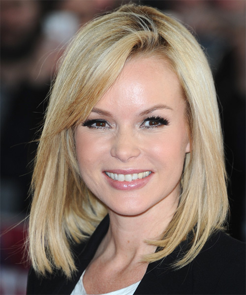 Amanda Holden Medium Straight Casual Hairstyle - Light Blonde (Champagne) Hair Color