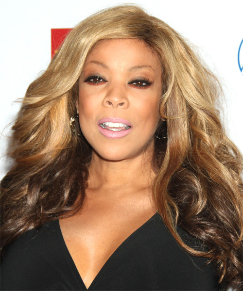 Wendy Williams Long Wavy Hairstyle - Medium Brunette (Golden)