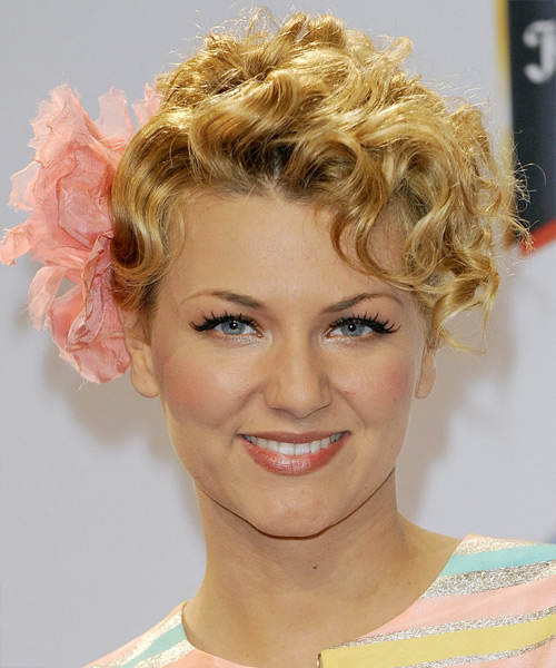 Ella Endlich Curly Formal Updo Hairstyle - Medium Blonde (Golden) Hair Color
