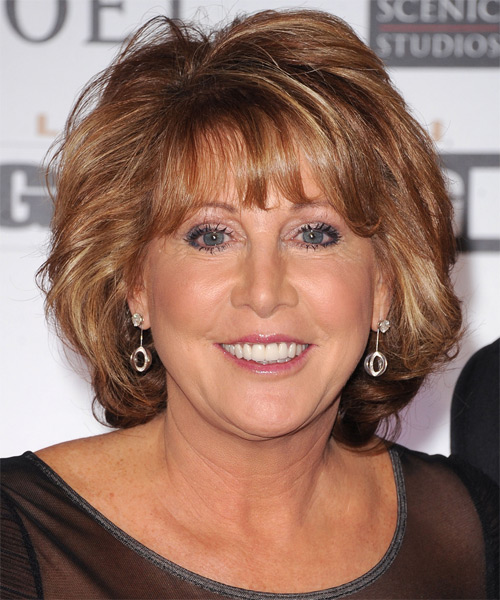 Nancy Lieberman Short Straight Formal Bob Hairstyle with Layered Bangs - Light Brunette (Chestnut) Hair Color