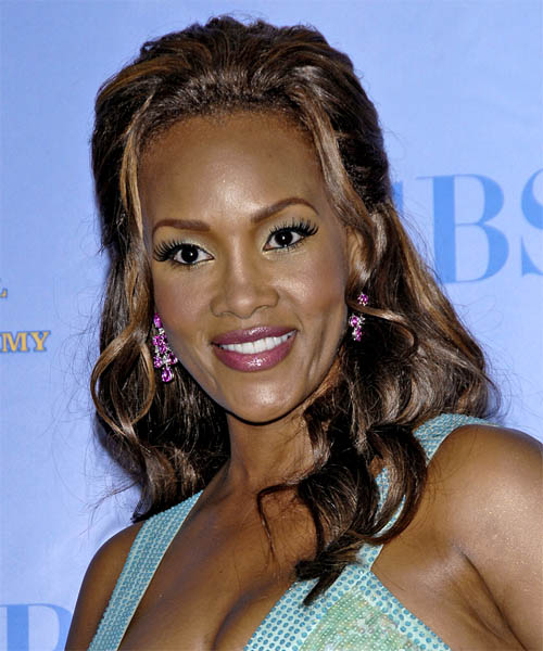 Vivica A. Fox Curly Formal Half Up Hairstyle