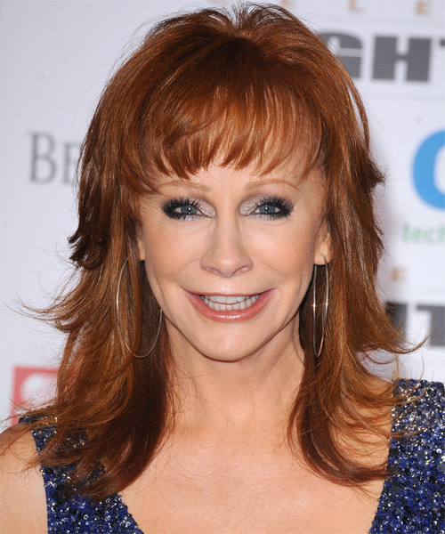 Reba McEntire Long Straight Hairstyle - Dark Red (Copper)