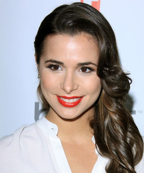 Josie Loren Long Wavy Formal Hairstyle with Side Swept Bangs - Dark Brunette (Mocha) Hair Color
