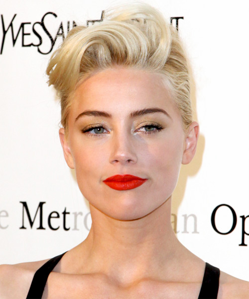 Amber Heard Updo Medium Straight Formal Updo Hairstyle - Light Blonde (Champagne) Hair Color