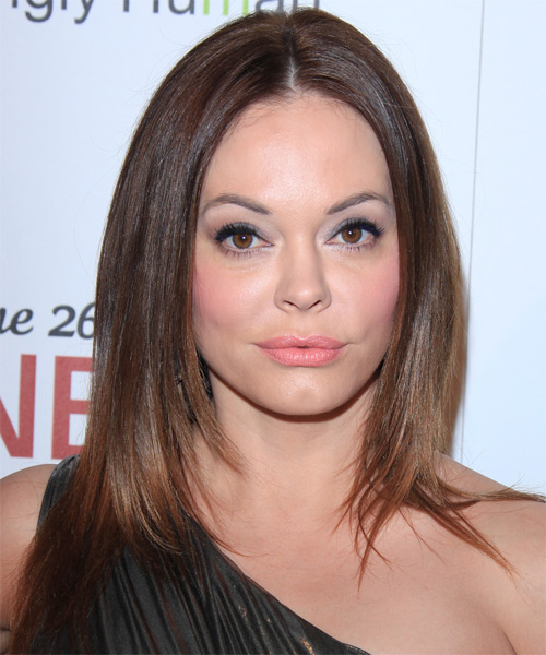 Rose McGowan Long Straight Hairstyle - Medium Brunette (Chestnut)