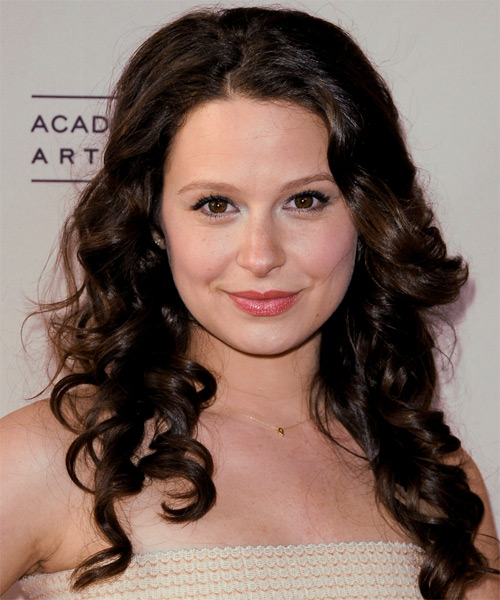 Katie Lowes Long Curly Formal Hairstyle - Dark Brunette (Mocha) Hair Color