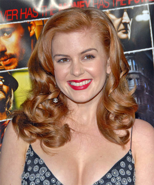 Isla Fisher Long Wavy Formal Hairstyle