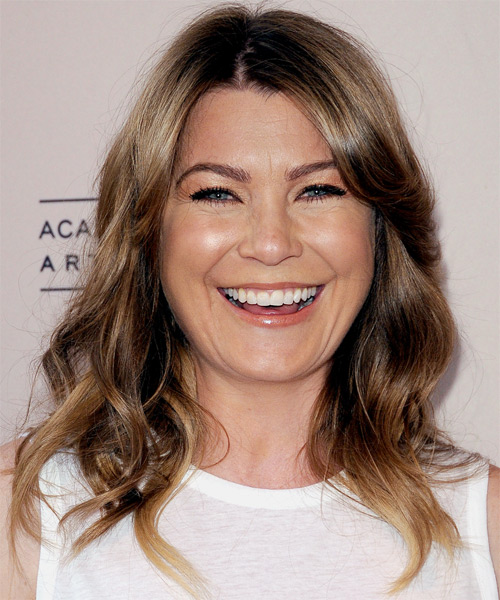 Ellen Pompeo Medium Wavy Casual Hairstyle - Light Brunette Hair Color