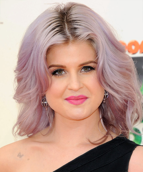 Kelly Osbourne Medium Straight Casual Hairstyle - Pink Hair Color