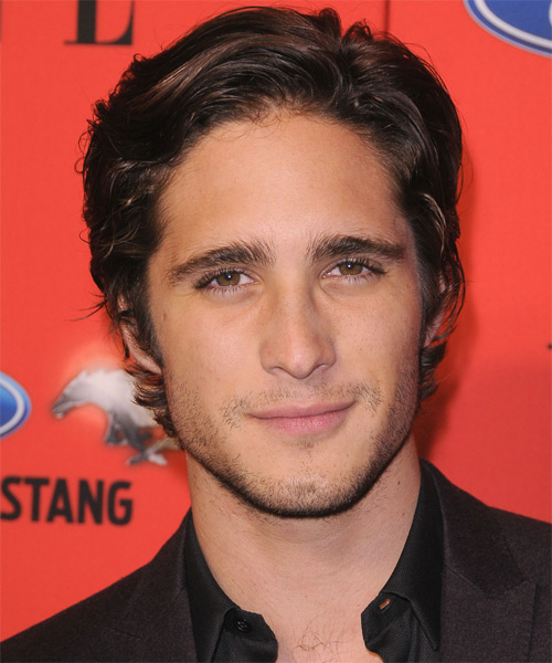 Diego Boneta Short Wavy Casual Hairstyle - Dark Brunette Hair Color
