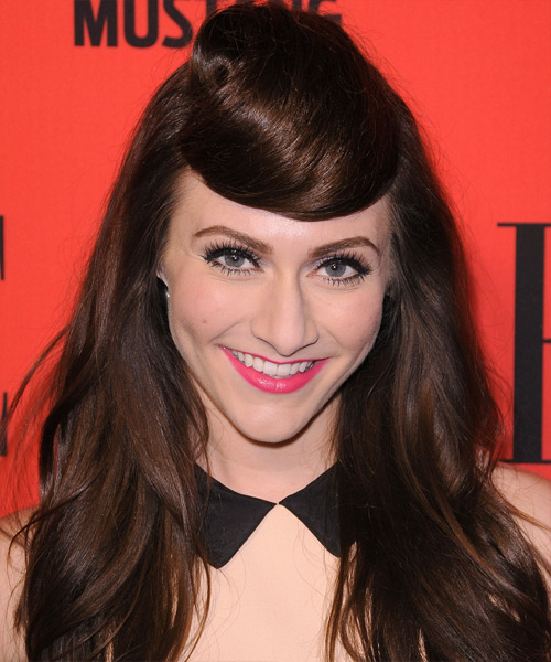 Amy Heidemann Long Straight Alternative Hairstyle - Dark Brunette (Chocolate) Hair Color