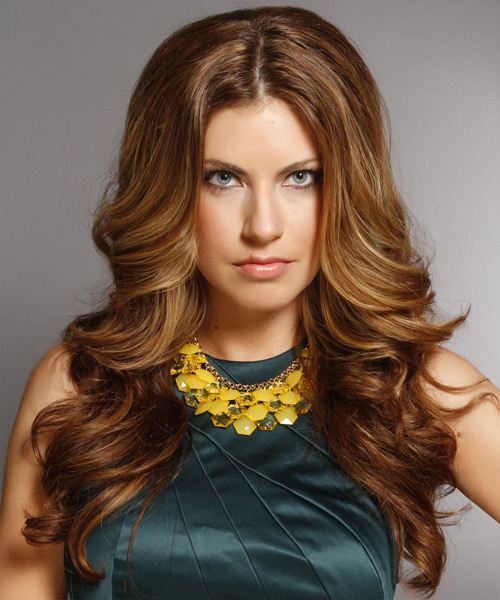 Long Wavy Formal Hairstyle - Medium Brunette (Caramel) Hair Color