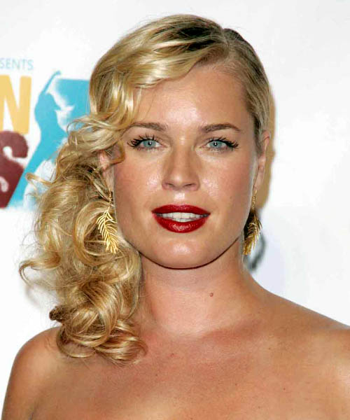Rebecca Romijn Half Up Long Curly Formal Half Up Hairstyle